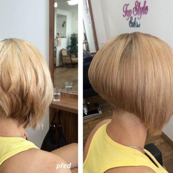 sjednocení blond barvy a úprava střihu od Stylist Jany
